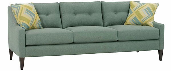 Upholstered Contemporary Button Back Sofa With Track Arms