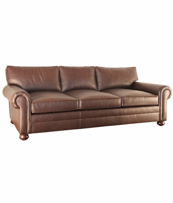 Custom Leather Pillow Back Queen Sleeper Sofa