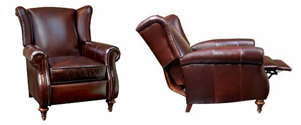 Chamberlain  Designer Style  Leather Wingback Recliner  sc 1 st  Club Furniture & Leather Wingback Recliner Chair w/ Rolled Arms islam-shia.org