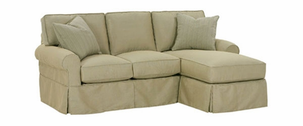 Small Slipcovered Chaise Sectional Queen Sleeper Sofa