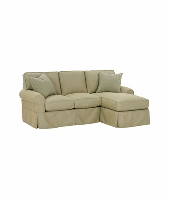 Small slipcovered chaise sectional queen sleeper sofa for Small slipcovered sectional sofa