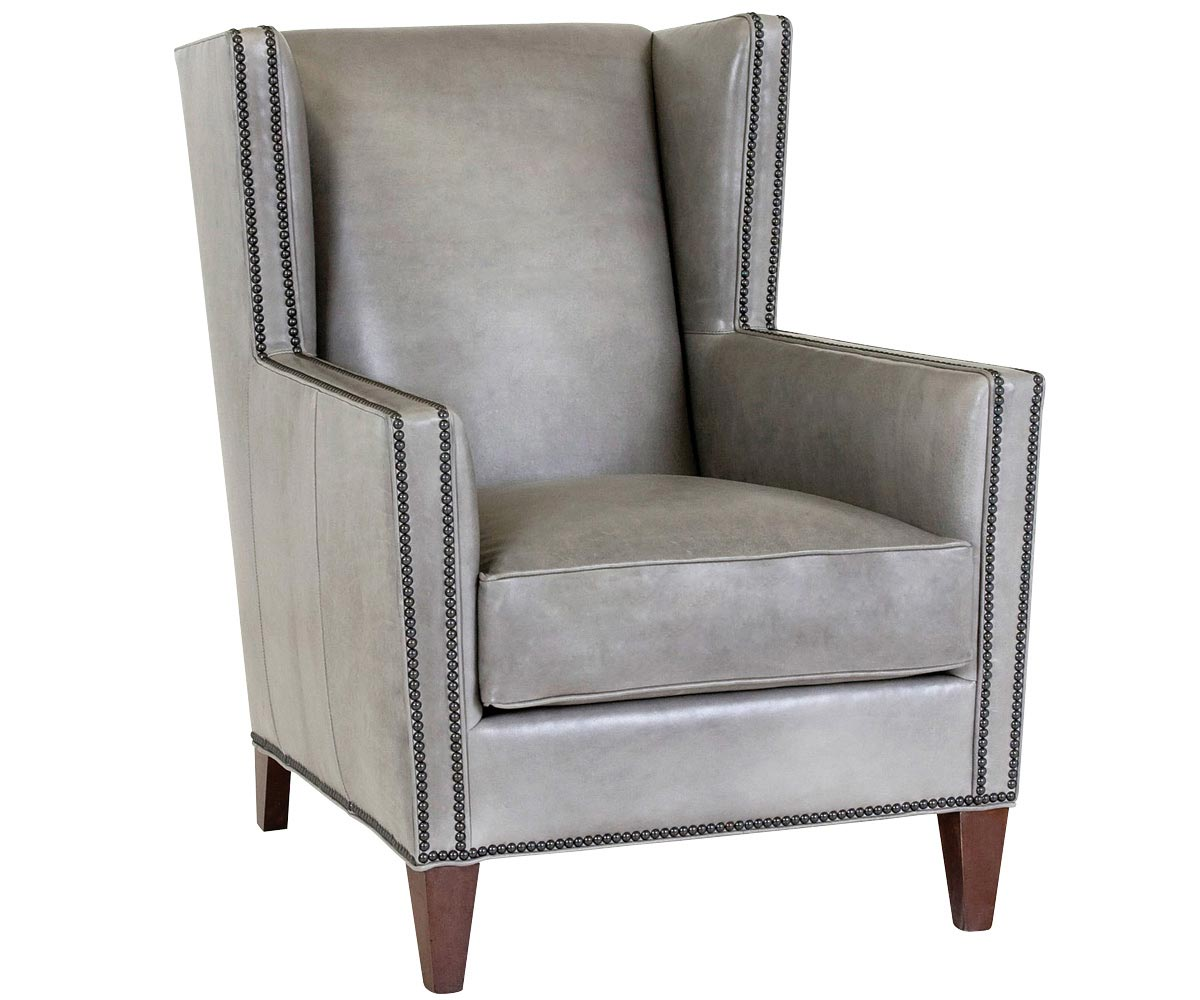 Wing Back Leather Chair With Nailhead Trim Club Furniture