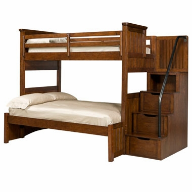 Cody boys bedroom twin over full bunk bed with storage steps for Boys twin bed with storage