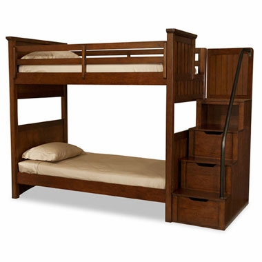 Boys rustic twin over twin bunk bed w storage steps for Boys twin bed with storage