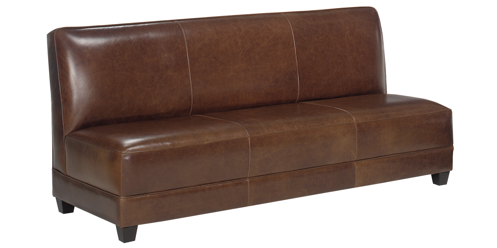 Armless Leather Settee Sofa Set with Ottoman And Chair