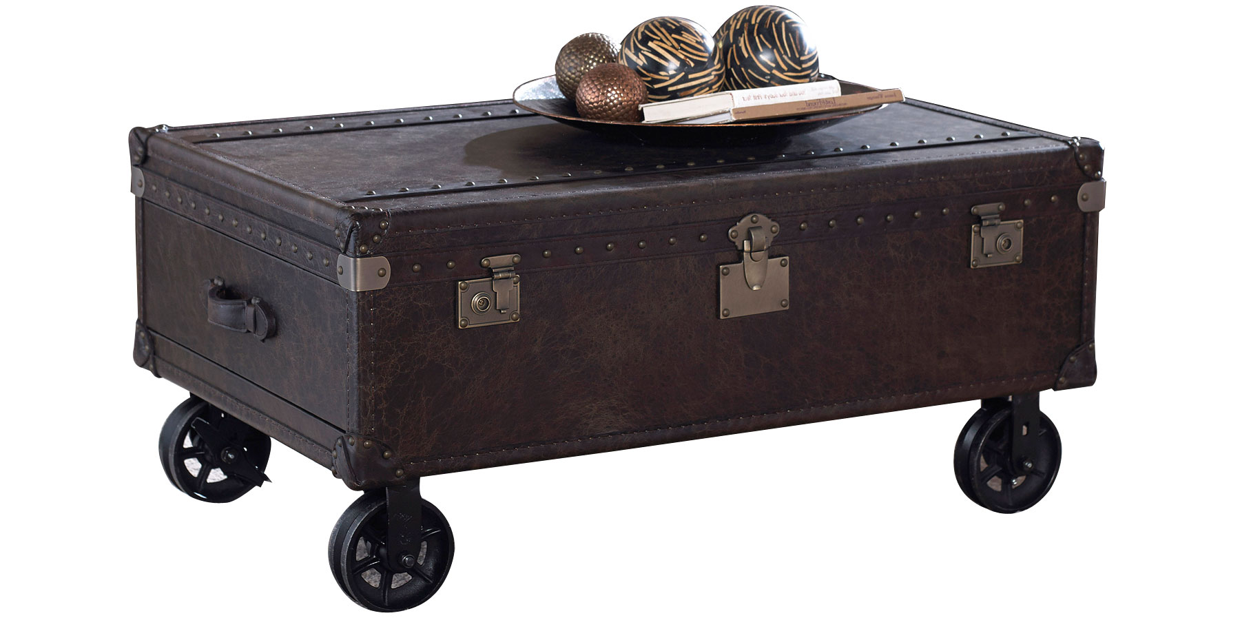 Leather Storage Trunk With Wheels Club Furniture