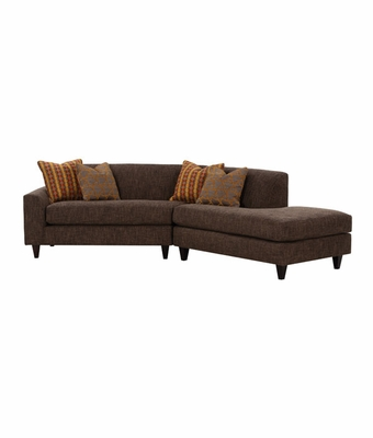 Fabric upholstered angled sectional sofa w chaise for Angled chaise sofa