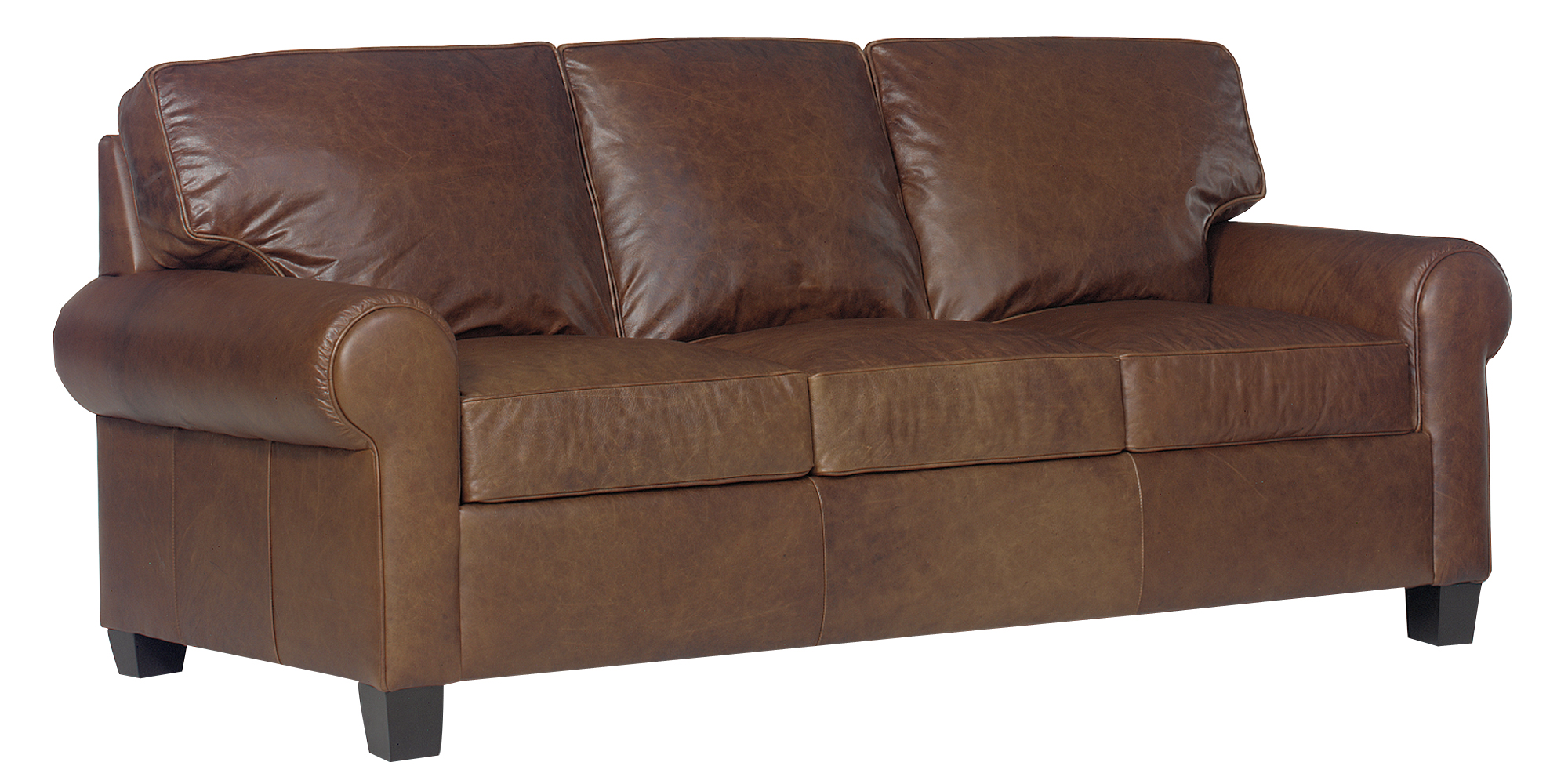 Classic Panel Lawson Arm Brown Leather Sofa Group Club