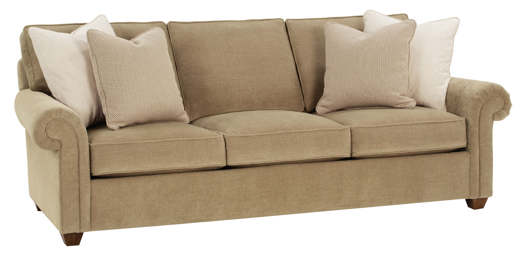 Upholstered Fabric Pillow Back Sofa Collection W Rolled Arms