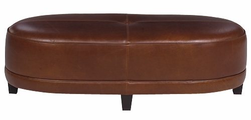 Oval Bench Ottoman Leather Upholstered Club Furniture
