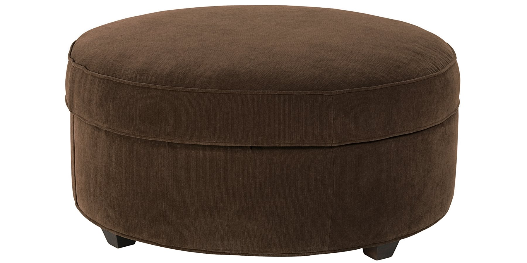 Large round fabric upholstered storage ottoman club for Storage ottomans fabric