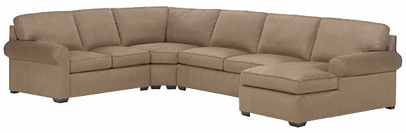 Fabric upholstered four piece pillow back sectional sofa for 4 piece sectional sofa with chaise