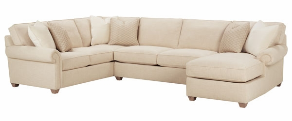 Oversized Fabric Chaise Sectional Sofa w/ Rolled Arms u0026 Welt Cord Trim