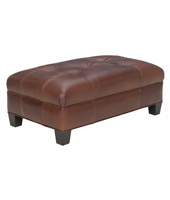 Leather Upholstered Button Tufted Ottoman Club Furniture