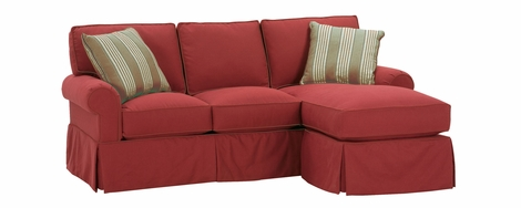 Emily Small Faux Slipcover Sofa With Reversible Chaise