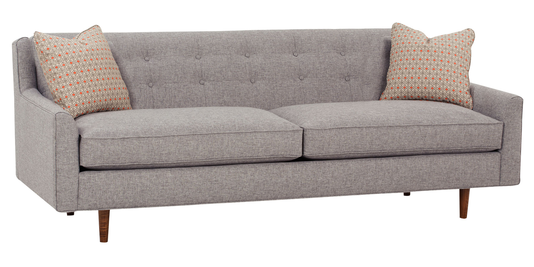 Mid century fabric sofa group with inset legs club furniture for Contemporary couches