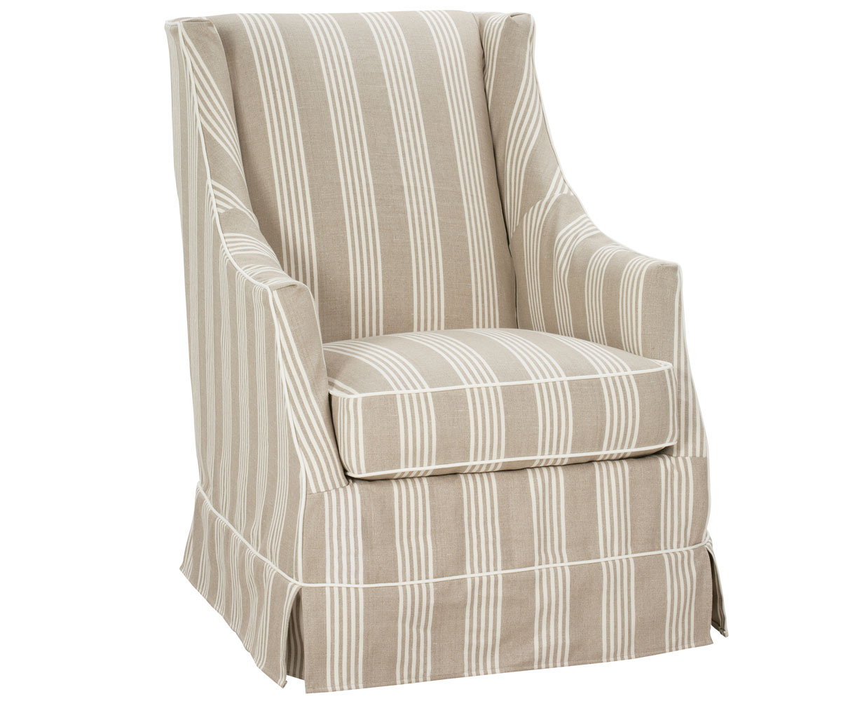 Small Skirted Slipcovered Accent Chair Club Furniture