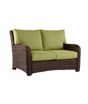 Fiji All Weather Wicker Pillow Back Outdoor Patio Loveseat
