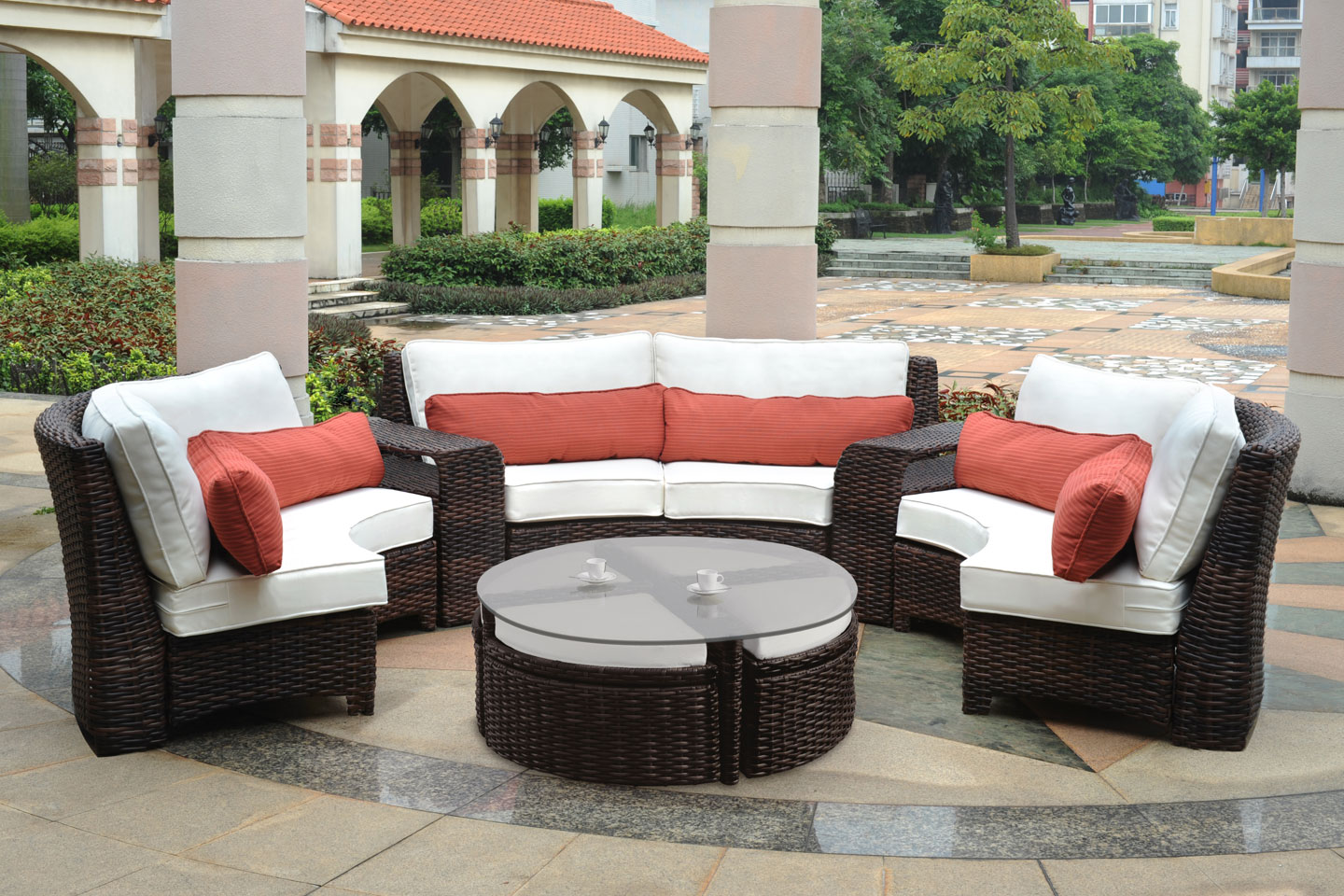 Fiji curved outdoor resin wicker patio sectional for Outdoor patio set