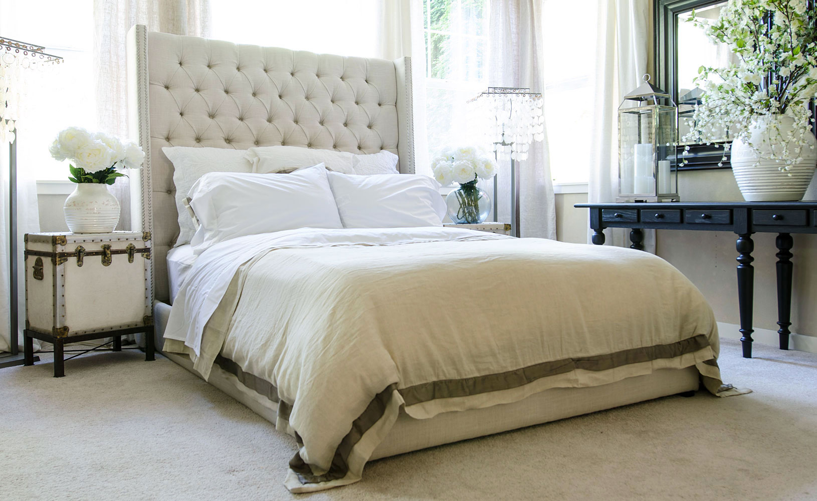 Tufted Fabric Platform Bed With Tall Headboard Club