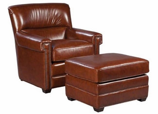 Tight Back Leather Accent Armchair Club Furniture