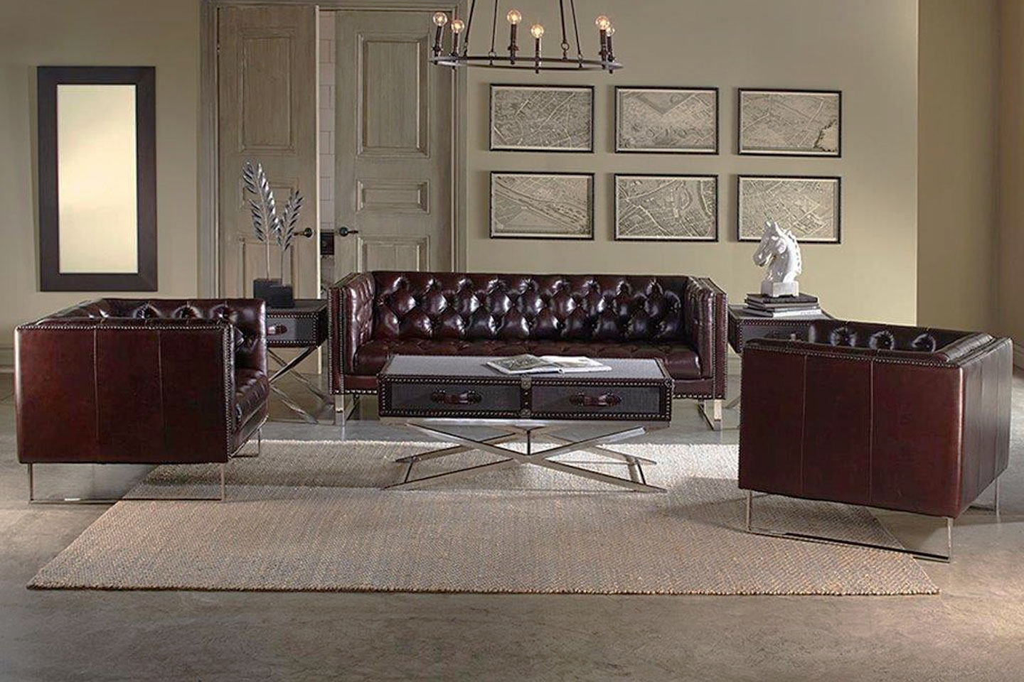 Garrison quick ship 3 piece tufted leather sofa for Tufted couch set