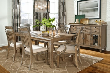 Rustic 7-Piece Fine Dining Set w/ Cream Upholstery