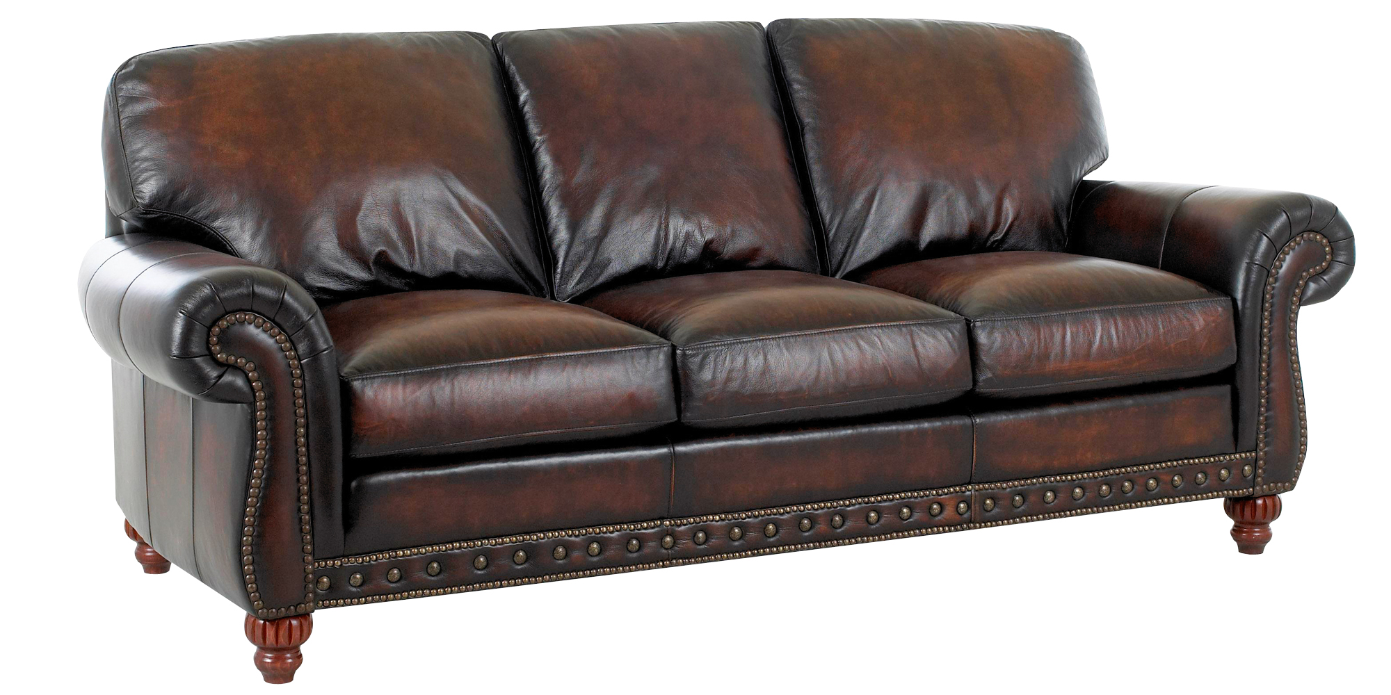Traditional European Old World Leather Sofa Set Club