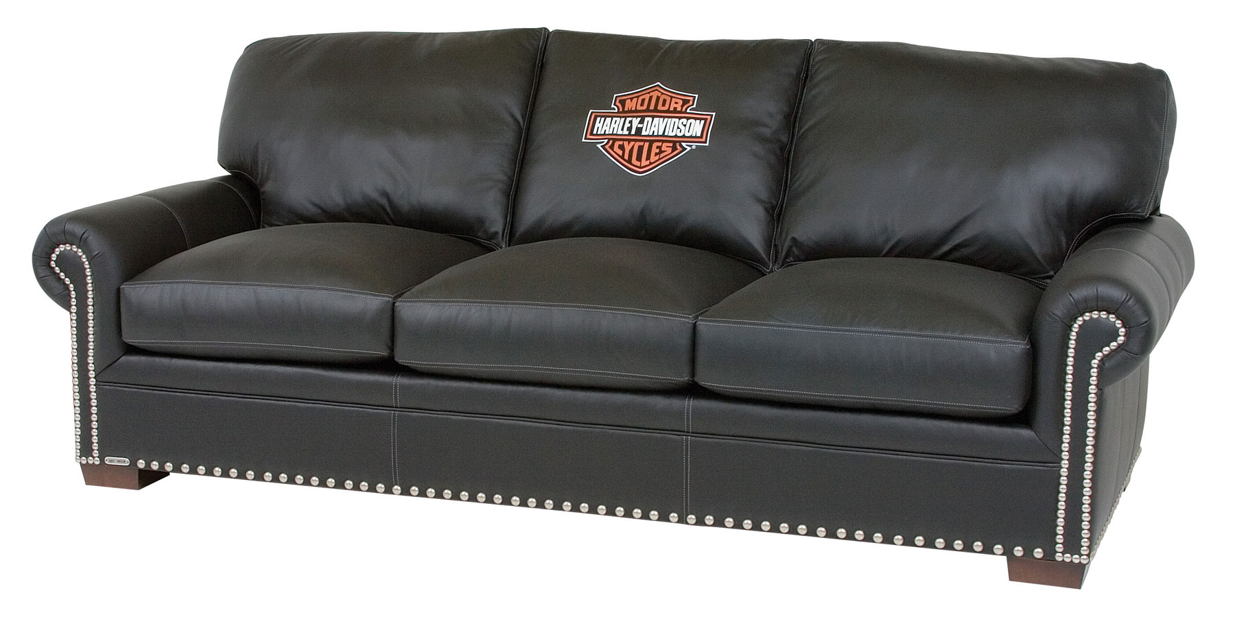 Harley Davidson Officially Licensed Black Leather Furniture Collection