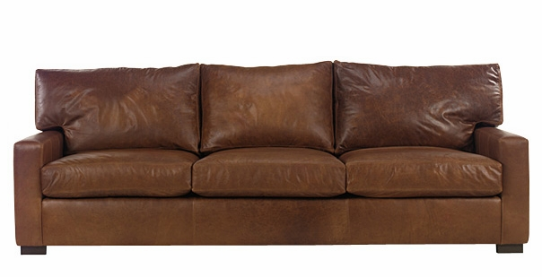 Oversized 101 Inch Leather Sofa With Deep Seated Couch