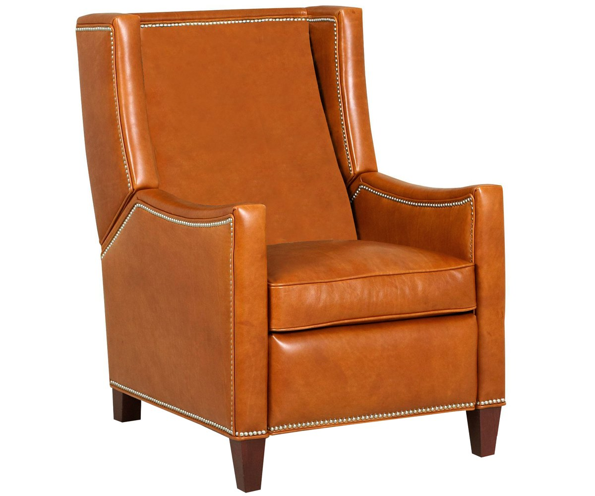 Heywood wing back leather recliner with nailhead trim for Wing back recliner chair