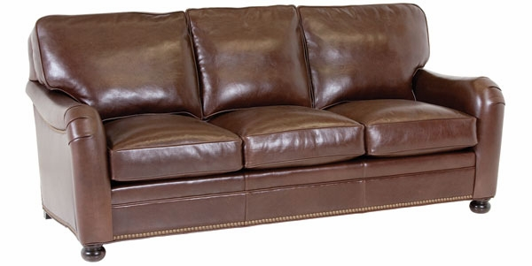 Leather pillow back sofa w english arms nailhead trim for Apartment size leather sofa