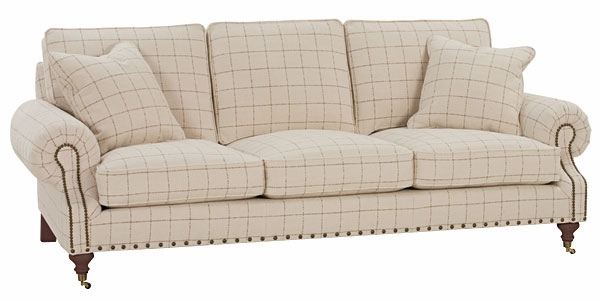 Huxley designer style traditional sofa w caster legs for Traditional sofas with legs