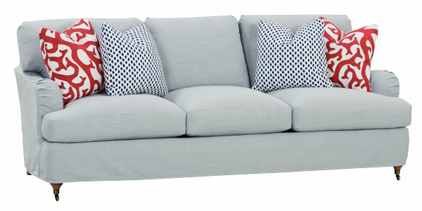 Slipcovered Pillowback Sofa With English Arms