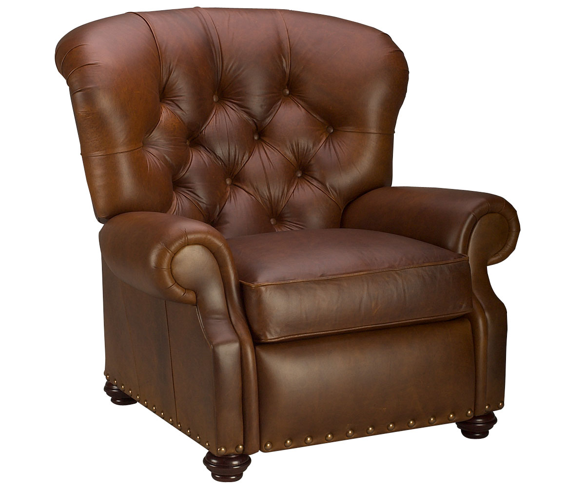 Large Tufted Back Leather Recliner Chair