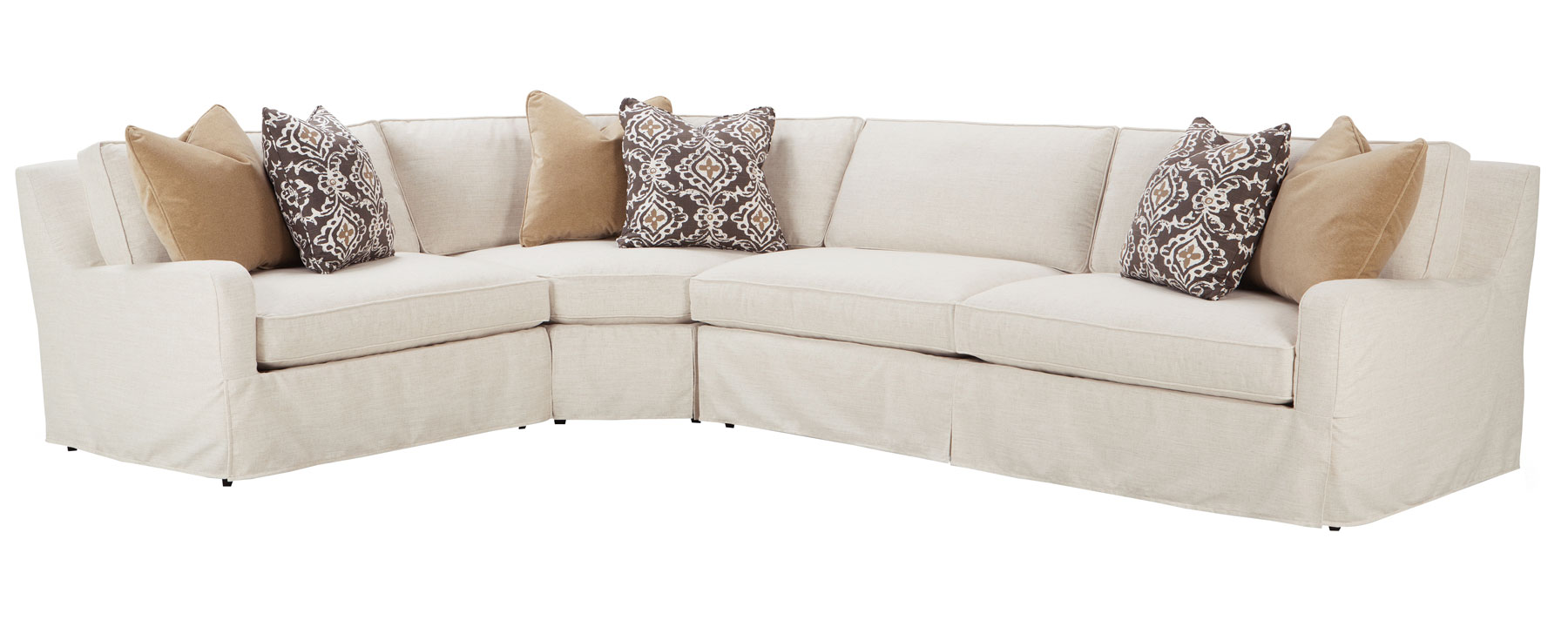 Slipcovered Fitted Back Sectional Sofa W Slope Arms
