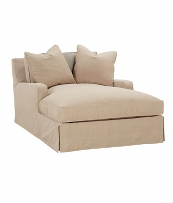 Large slipcovered pillow back chaise with track arms for Chaise design coloree