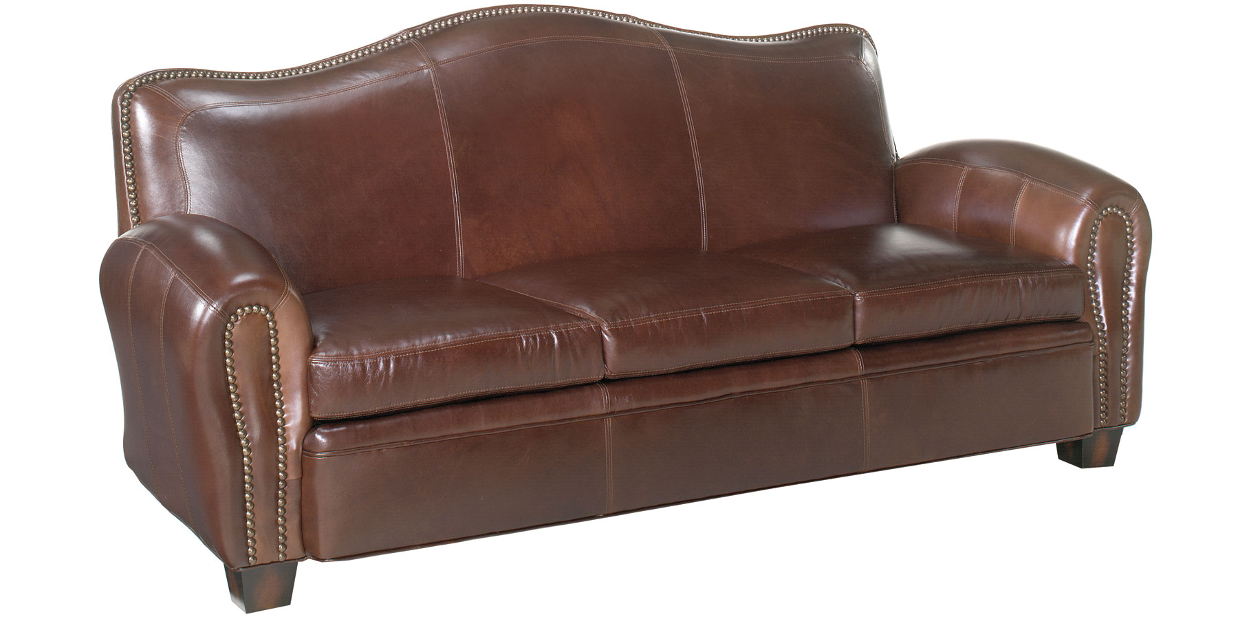 Leather Camelback Set Club Chair Loveseat Sofa Ottoman W Trim