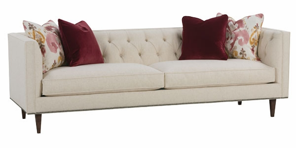 Fabric Tufted Back Sofa W In Set Tapered Legs And Nail Trim