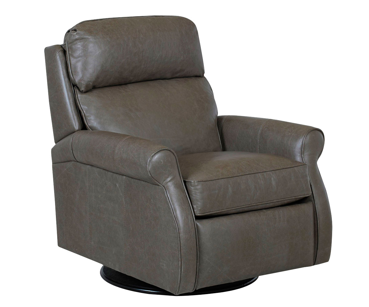 Kirby Large Sofa: Rolled-Arm Pillow-Back Leather 360 Swivel-Recliner