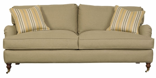English Arm Upholstered Apartment Sized 2 Cushion Sofa | Club ...