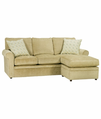 Apartment size rolled arm sectional sofa w chaise welt for Apartment size sectional sofa with chaise