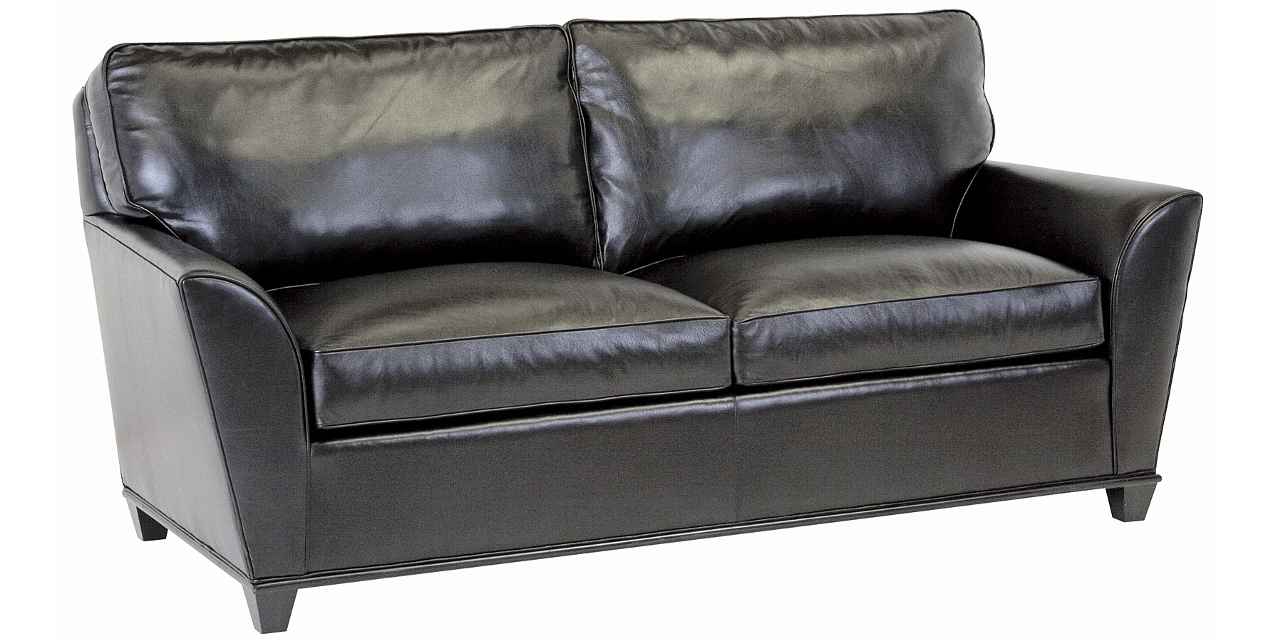 Contemporary Leather Wing Arm Pillow Back Sofa Set Club