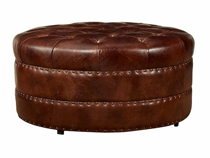 Lockwood Quick Ship Round Tufted Leather Ottoman Coming Soon Ottomans Benches
