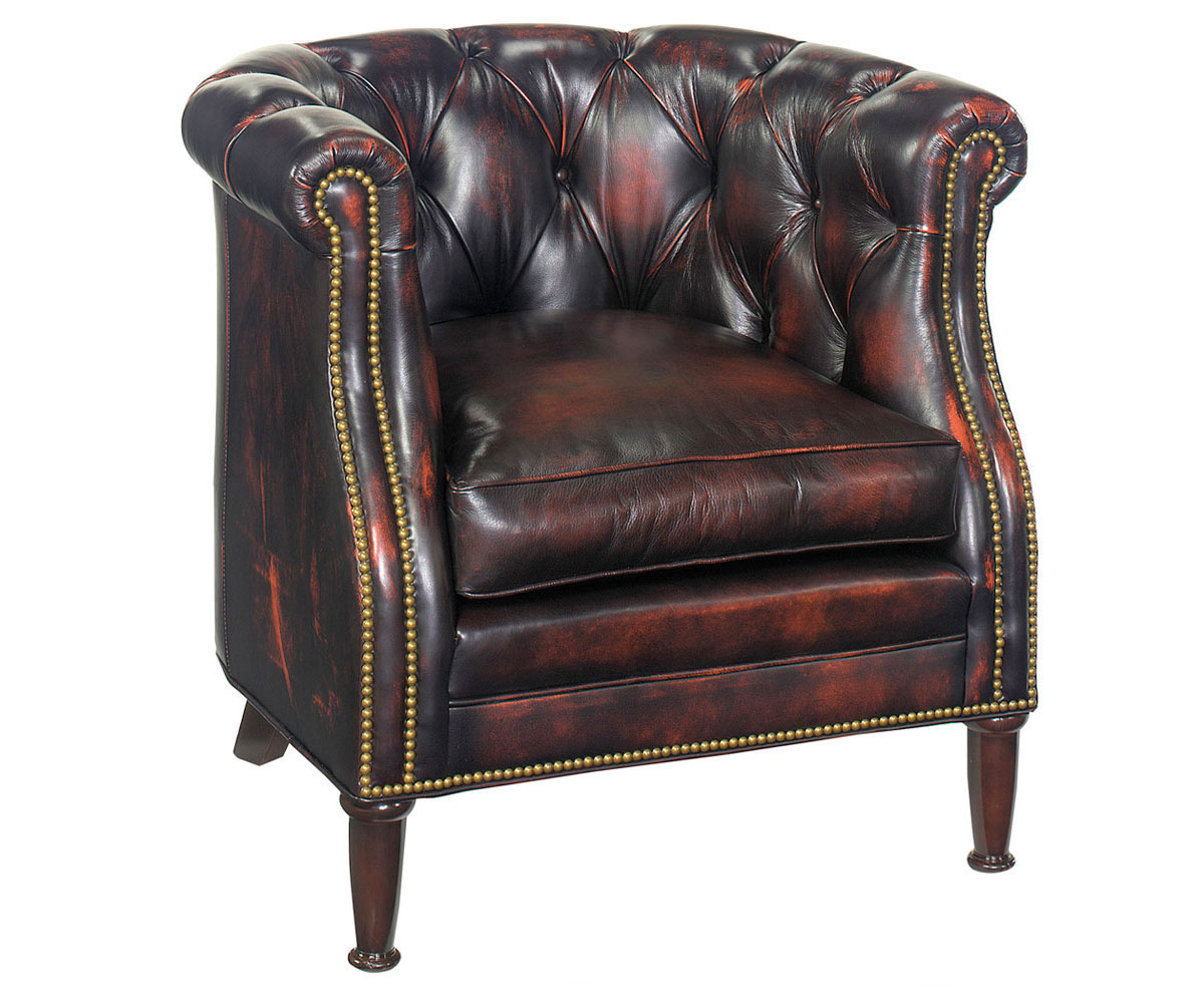 Leather button tufted tub accent chair w nail head trim Tufted accent chair