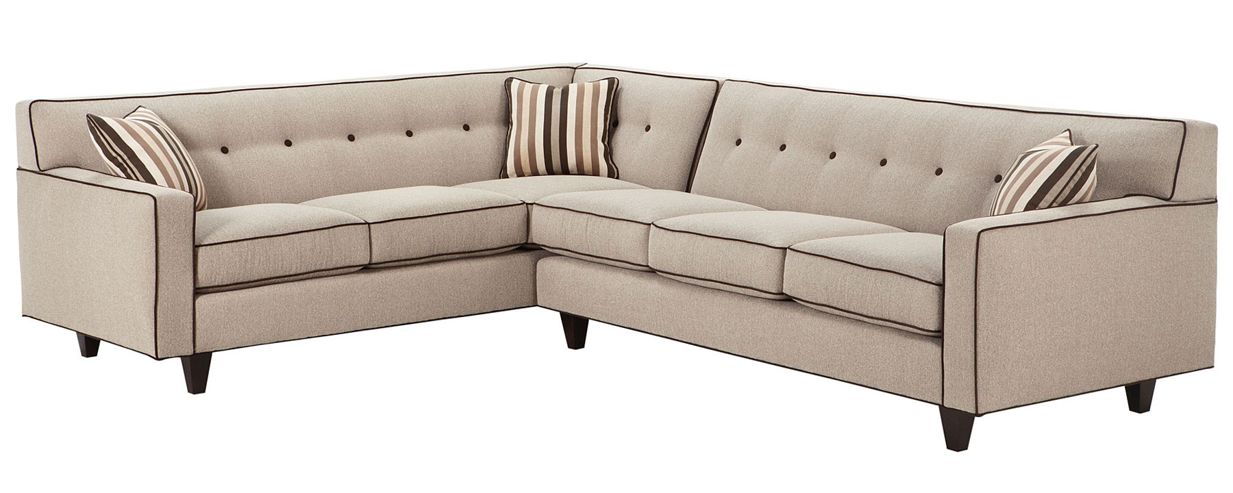 Mid century modern sectional sofa w button back club for Modern sectional sofas