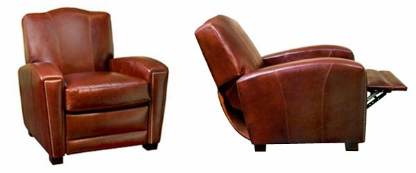 art deco leather camel back recliner | club furniture