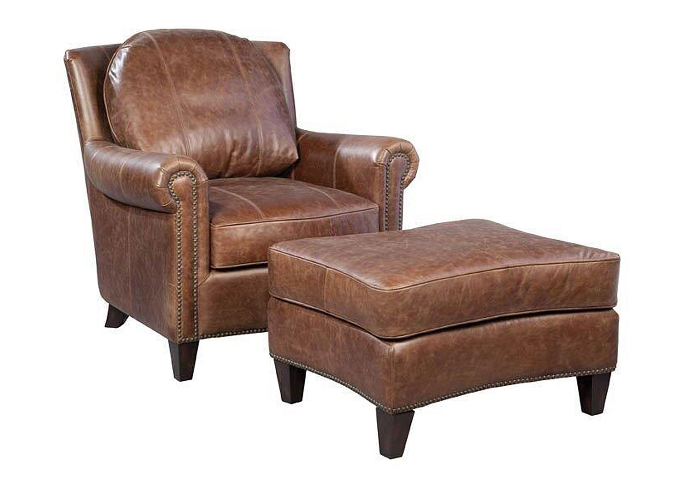 vintage brown leather accent chair with nails  club furniture - mathis pillow back leather accent chair clubfurniture