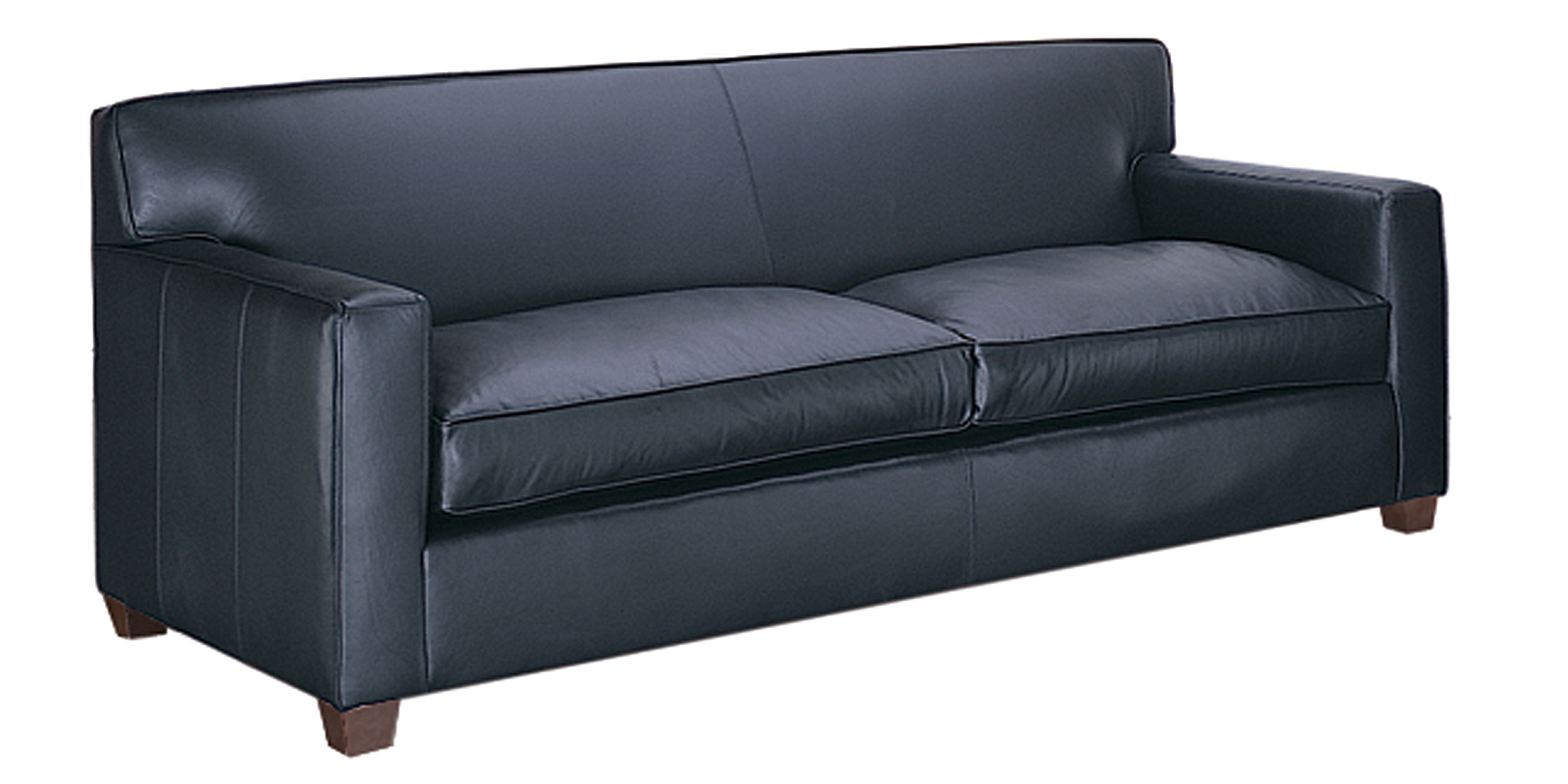 Modern leather track arm couch and chair with ottoman for Modern leather furniture