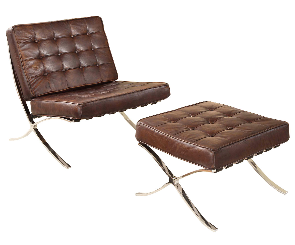 Leather button tufted mid century modern chair w optional for Mid century modern leather chairs